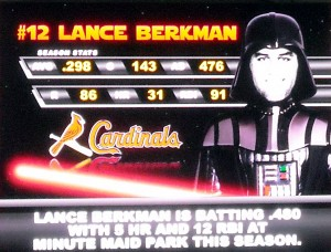 While Lance Berkman gets the visiting villain treatment during a past Star Wars Night at Minute Maid Park a complete team will turn into Darth Vader this year. Photo R. Anderson
