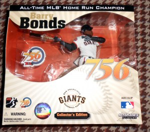 Barry Bonds, shown in plastic figurine form, was once again passed over for the Hall of Fame along with several other players who were believed to have used banned substances. Although known of the players were shown to be dirty some voting members of the BWAA refuse to vote for anyone who played during the so called steroid era regardless of what was or was not proven against them. Photo R. Anderson