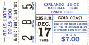 Each of the ticket stubs in my collection are attached to a memory of a game I attended as opposed to something I bought online. This particular ticket stub is from the game where I met Earl Weaver who I had looked up to for many years. Photo R. Anderson