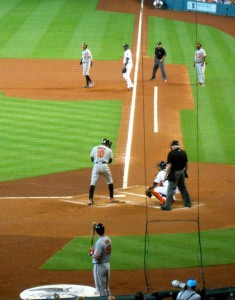 Adam Jones and the Baltimore Orioles defeated the Houston Astros on the day it was announced that Tal's Hill would disappear at the end of the season. As a center fielder Jones had a close up view of the unique incline in the outfield whenever he visited Minute Maid Park. Photo R. Anderson