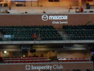 A few years back the press box at Minute Maid Park was moved up a level to make room for a lounge behind home plate. While reporters still cover the team I guess the real estate they previously occupied while doing their jobs was deemed to valuable to waste on media members. Photo R. Anderson