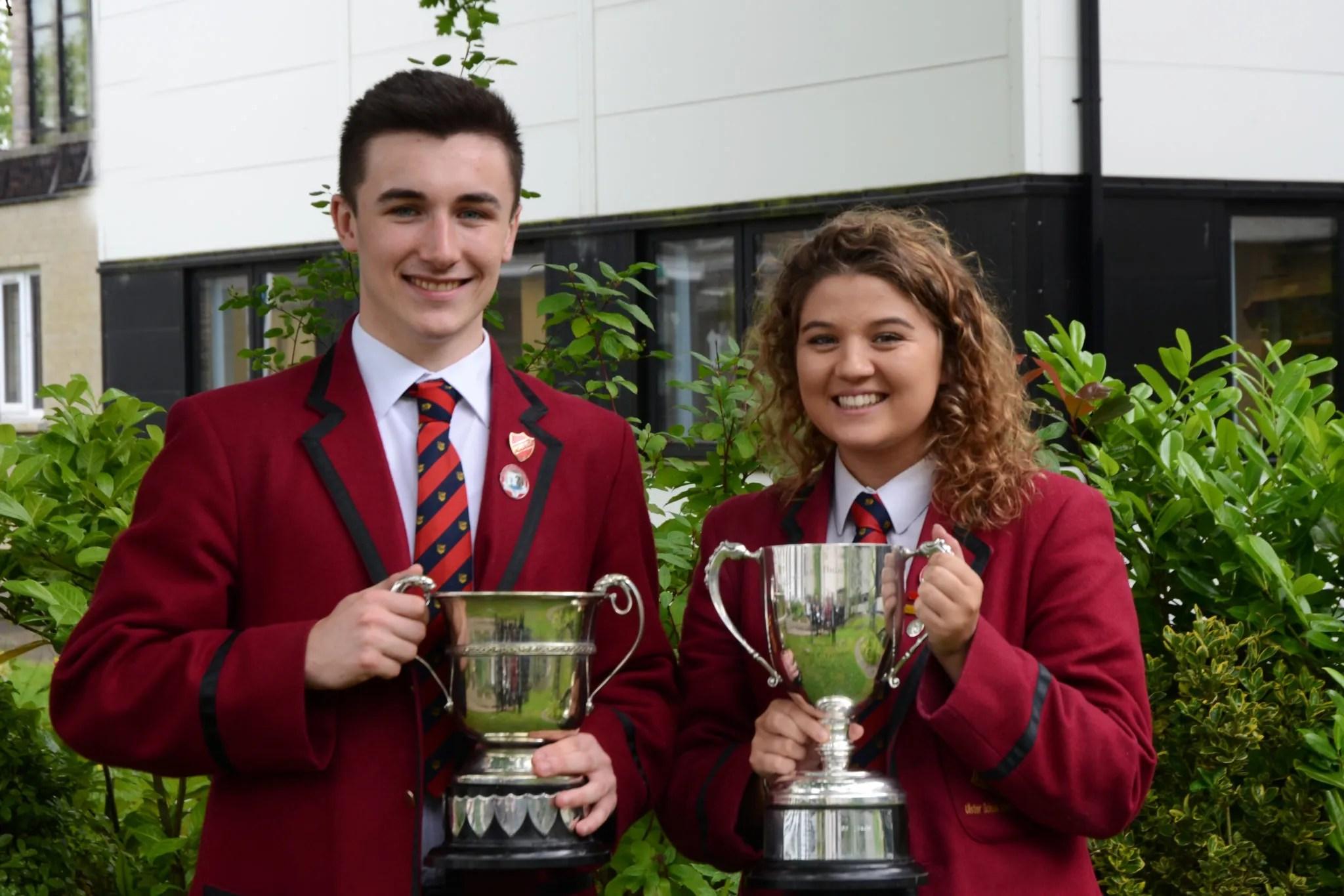 Ballyclare High School's Best Boy and Girl in Sport Jack Lewis and Jasmine Walker