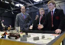 HRH The Earl of Wessex speaks to pupils involved in the Duke of Edinburgh award from Ballyclare High School during his visit today to mark the diamond jubilee of the Duke of Edinburgh awards scheme. photo by Aaron McCracken/Harrisons