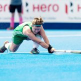 LONDON - Vitality Women's Hockey World Cup SF1 Ireland - Spain Photo: Shirley McCay with the assist for the 1-0. COPYRIGHT WORLDSPORTPICS FRANK UIJLENBROEK
