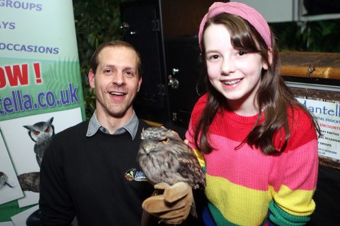 Mandatory Credit - Picture by Freddie Parkinson © Tuesday 7 January 2020 Ballyclare High School Open Night Karl Hamilton with his Frogmouth and Beatrice Seath