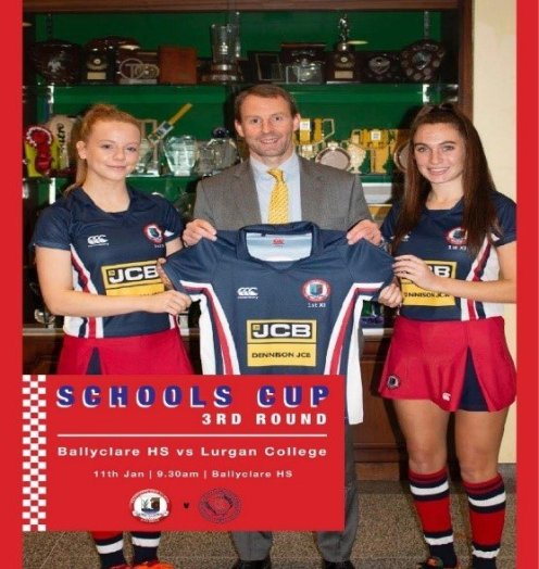 Sponsorship Rob Ireland from Dennison JCB with 1stXI Co-Captains Katie Stewart and Molly Dougan