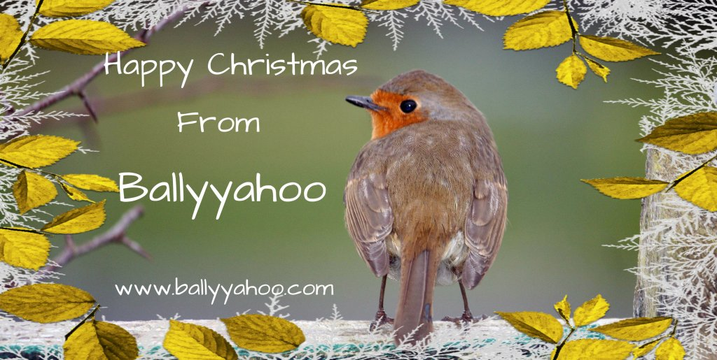 christmas robin with greeting - illustrating home page of Ballyyahoo's children's stories site