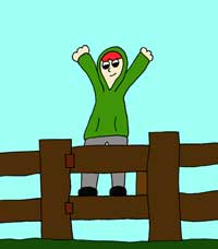 cartoon of a boy on a gate - illustrating children's stories by Grace Jolliffe