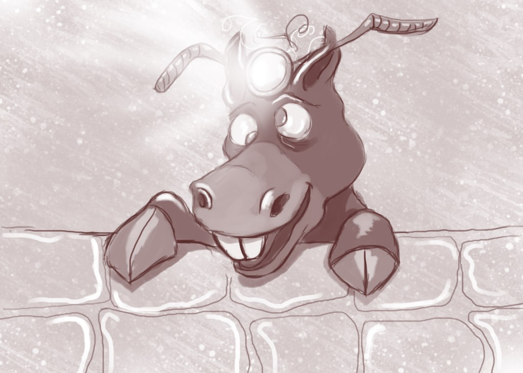 cartoon donkey with a light on its head illustrating a story from Ireland's Magical town of Ballyyahoo