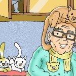 cartoon woman with cat on her head illustrating a page about children's stories from Ireland's Magical Ballyyahoo