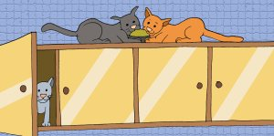 cartoon cats in kitchen cupboard - illustrating a children's story about kitten rescue