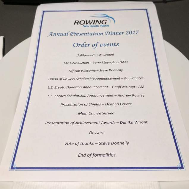 The Program for the Presentation Dinner