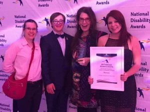 Para-athlete Tahli Hind with members of the 'University 2 Beyond' Program at the National Disability AWards 2017 - Photo: Tahli Hind