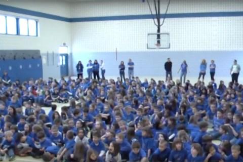 Elementary school students watch Balmoral's music program.