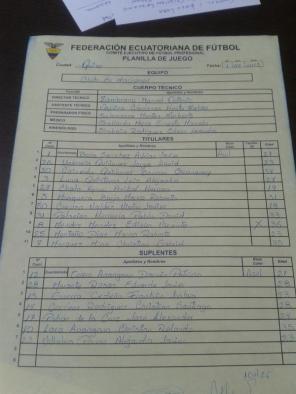 Alineación El Nacional vs LDU Quito fecha 1