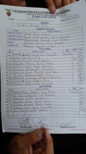 Alineación Mushuc Runa vs Dep Cuenca fecha 1