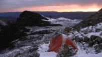 Sunset at high camp, following a brief snowstorm