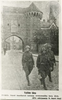 "Street patrol in Tallinn from the newspaper ""Communist"" (25th of August 1941)"