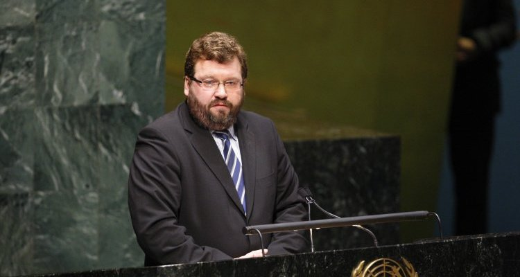 Shown here is Estonian Ambassador Margus Kolga who issued a strong statement in May on behalf of the three Baltic States of Estonia, Latvia, and Lithuania during a meeting of the UN General Assembly in commemoration of ALL victims of the Second World War. UN Photo/Rick Bajornas