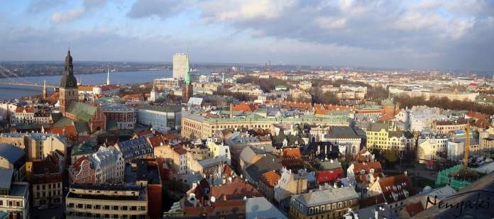 View from St. Peters church. Old town Riga, panoramic