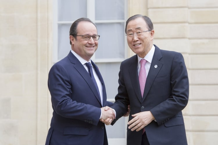 UN Secretary-General Ban Ki-moon is pictured here with Francois Hollande, President of France, at the Elysee Palace in Paris. COP 21 is hosted and chaired by France, and Laurent Fabius is the President of the summit. Due to security concerns following November 13, COP 21 was held in Le Bourget, a suburb of Paris. UN Photo/Rick Bajornas.
