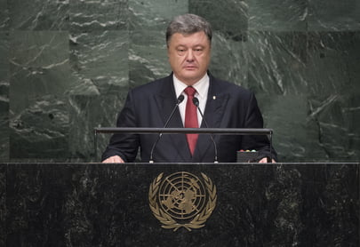 Shown here is Ukrainian President Petro Poroshenko addressing the UN General Assembly at UN Headquarters in New York. The case of Ukrainian pilot Nadiya Savchenko was discussed in a telephone call initiated recently by Ukrainian President Poroshenko with UN Secretary-General Ban Ki-moon. UN Photo/Cia Pak