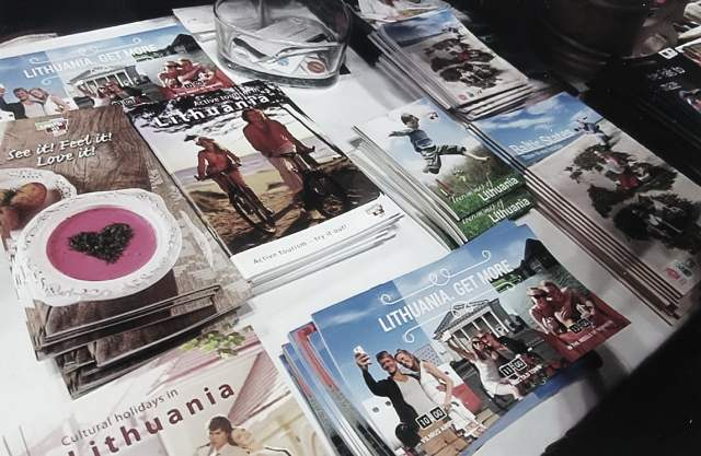 Shown is a collection of Lithuanian promotional travel brochures at The 2016 New York Times Travel Show. Photo: Ann Charles