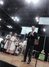 "Pictured here is Julius Pranevičius, Consul General of the Republic of Lithuania in New York, who presented ""Spindulėlis"" (Little Sun Rays) on the cultural stage at the Jacob K. Javits Convention Center during the 2016 New York Times Travel Show. Photo: Ann Charles"