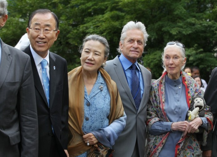 "Shown observing the International Day of Peace in 2015 on the far left is UN Secretary-General Ban Ki-moon, together with his wife Yoo Soon- taek and UN ""Messenger of Peace"", Michael Douglas, and UN ""Messenger of Peace"" Jane Goodall. Secretary-General Ban Ki-moon issued a statement on the passing of UN ""Messenger of Peace"" Muhammad Ali. UN Photo/Devra Berkowitz."