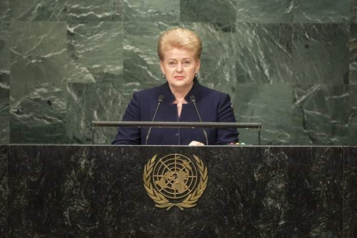 Shown here is Lithuanian President Dalia Grybauskaite addressing the general debate of the General Assembly's seventy-first session at UN Headquarters in New York on September 22. The President firmly believes that today's greatest challenges can only be resolved with the full participation of women. UN Photo/Cia Pak.