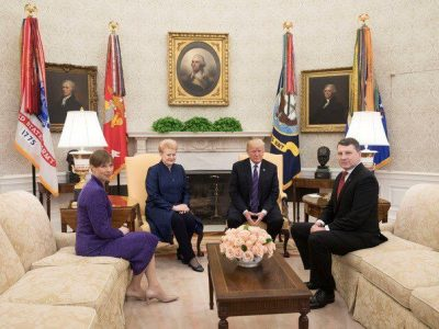 Baltic States Presidents sit with President Donald J. Trump in the Oval Office in centennial of Baltic Independence.