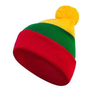 Striped double hat with national Lithuanian colors