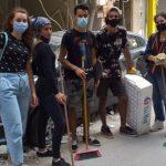 Активисты движения «Волонтёры Победы» разбирают завалы после взрыва в Бейруте