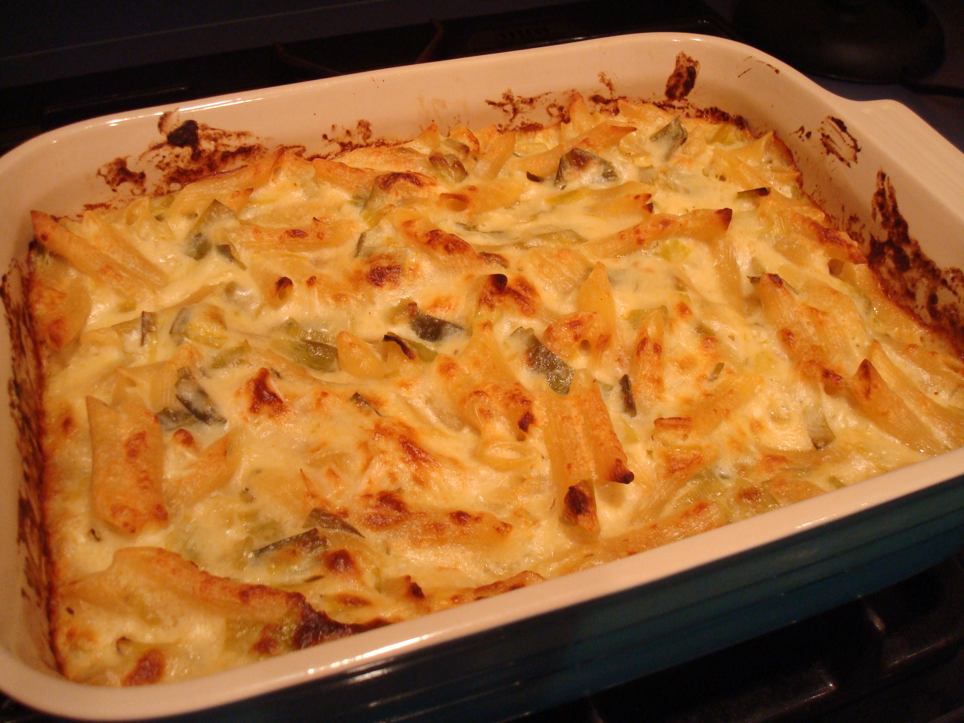 Baked Penne with Pepper Jack and Leeks