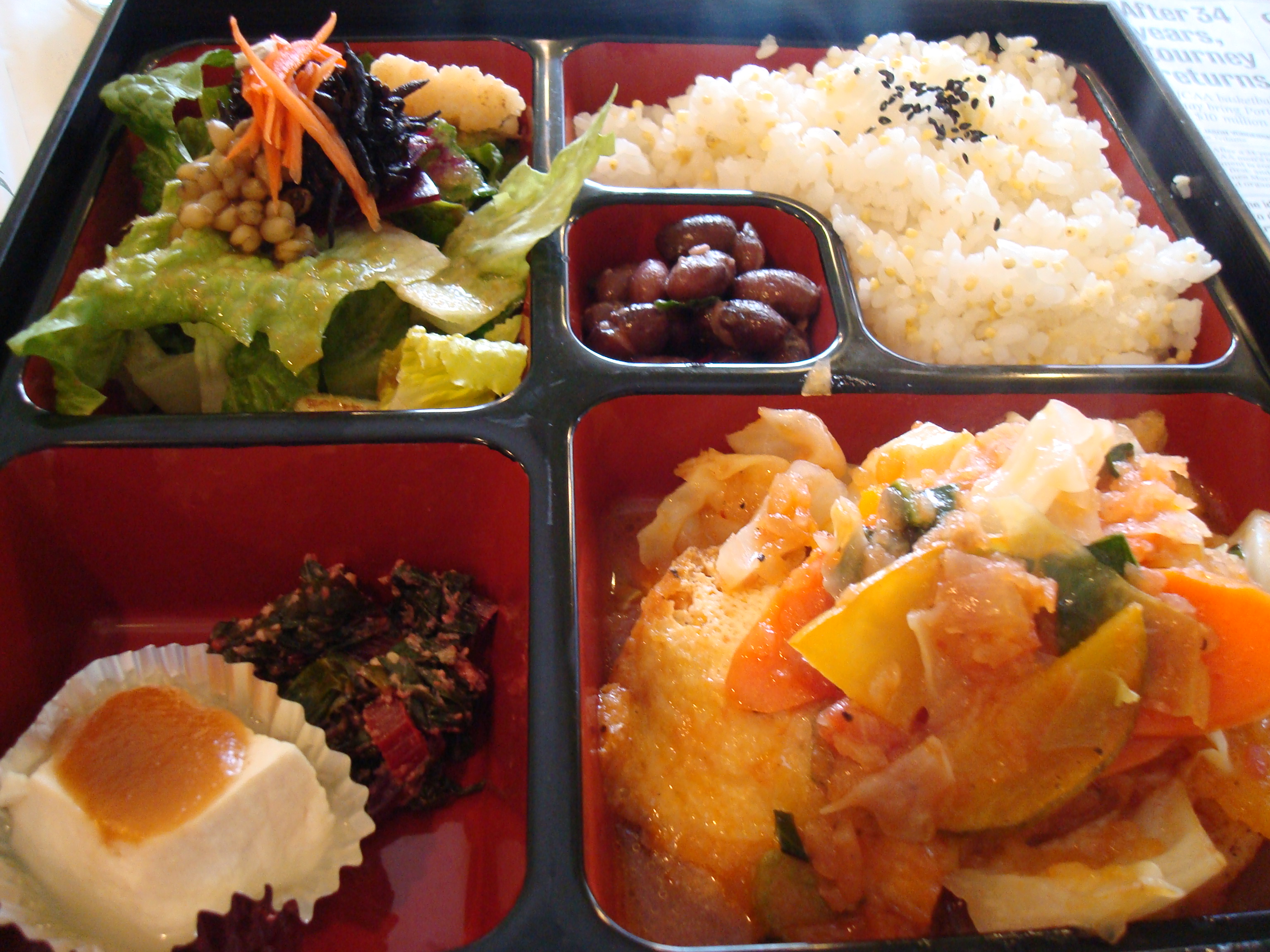 Farmers Veggie Bento (cabbage and kabucha squash braised in tomato sauce)