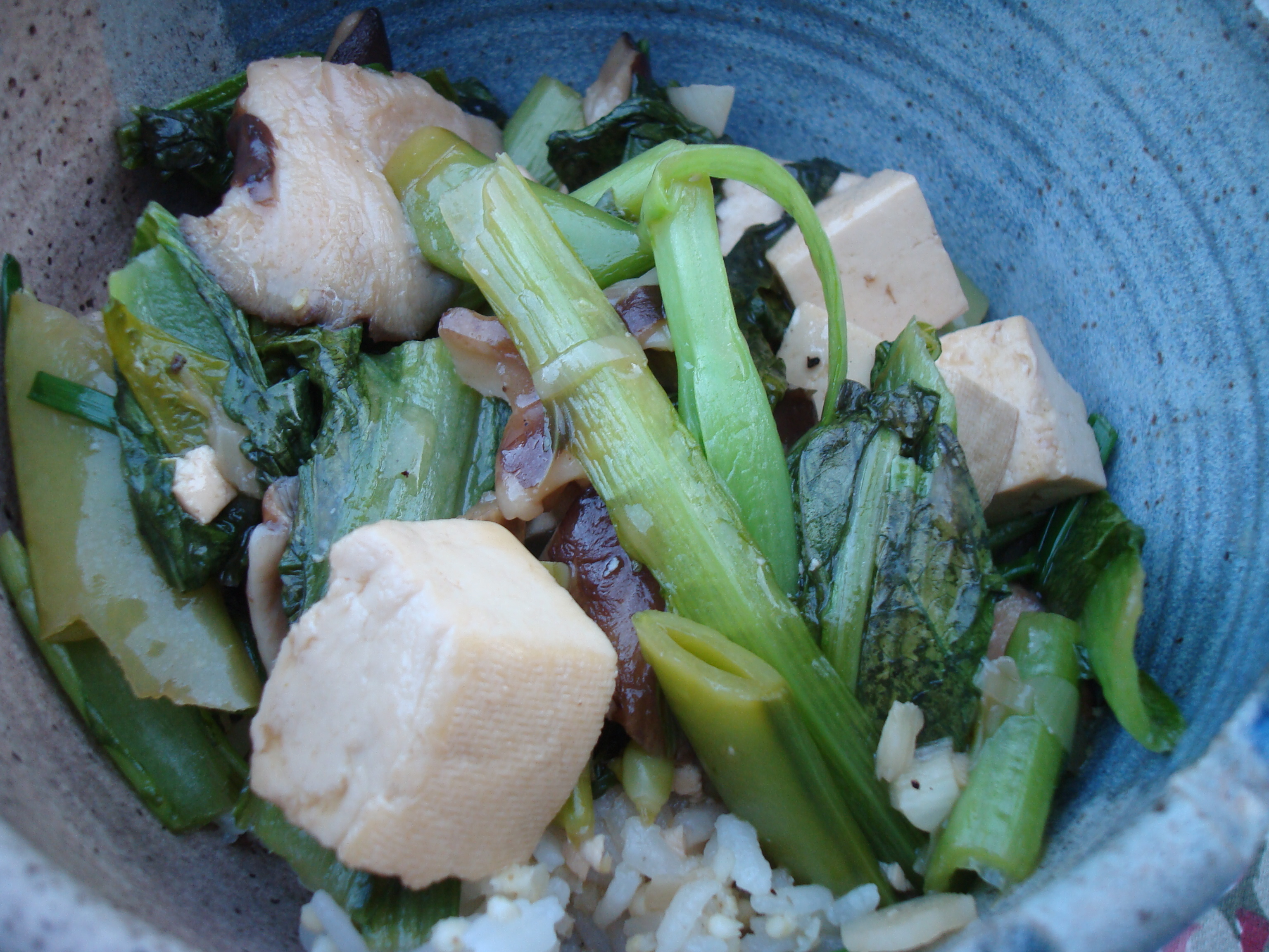 Mustard Greens, Shitake, Snap Pea and Tofu Stir-Fry