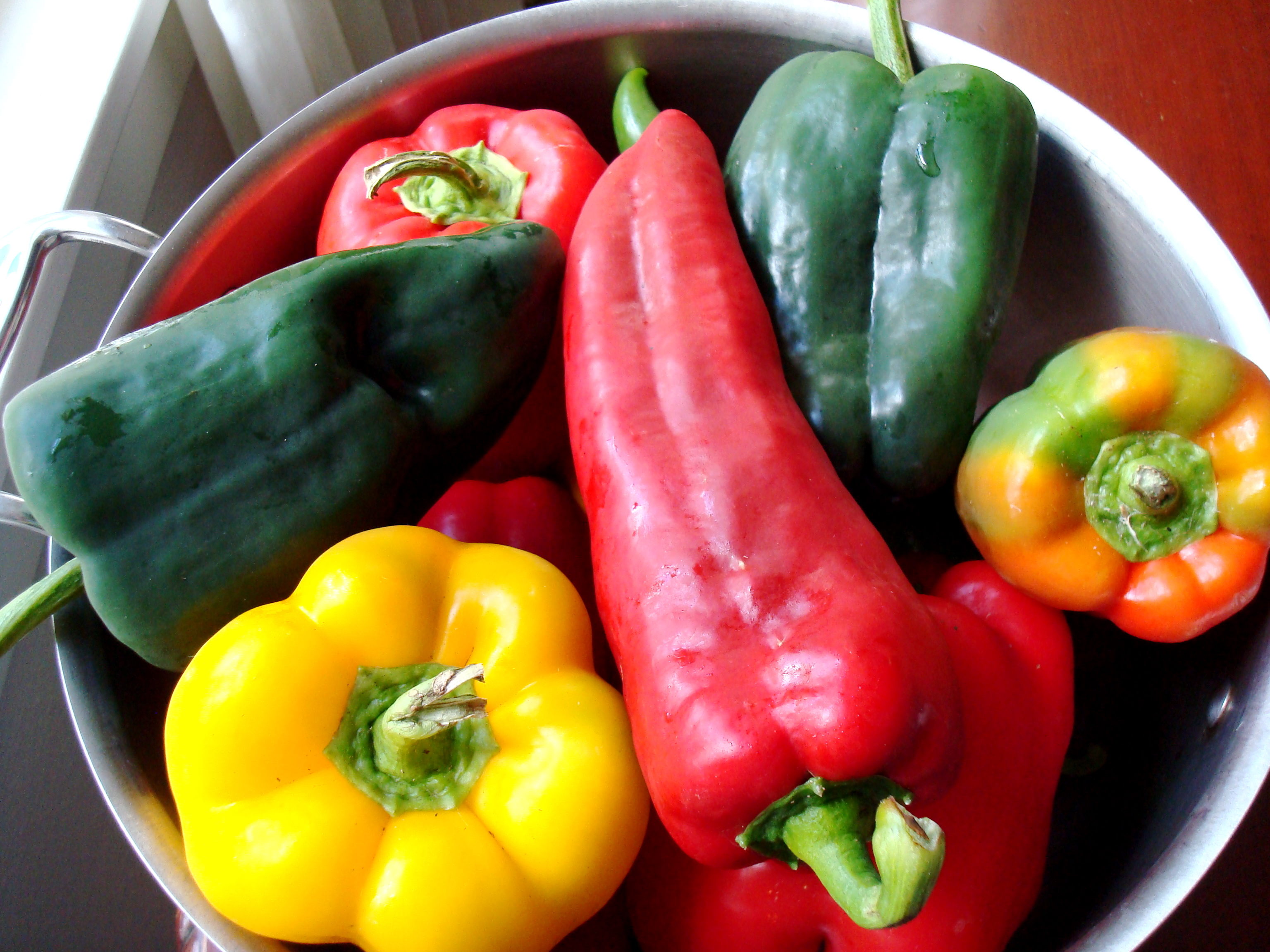 Local peppers galore: polbanos, anaheims, sweet Italian reds.