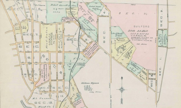 Guilford estate and nearby properties, 1889 Thompson Atlas, courtesy the Baltimore City Archives