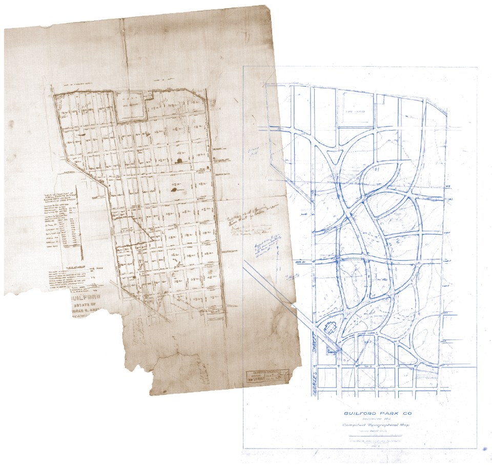 Image of a 1908 map showing the City's plan to extend the grid street pattern into the Guilford estate. Courtesy the Frederick Law Olmsted National Historic Site, NPS.