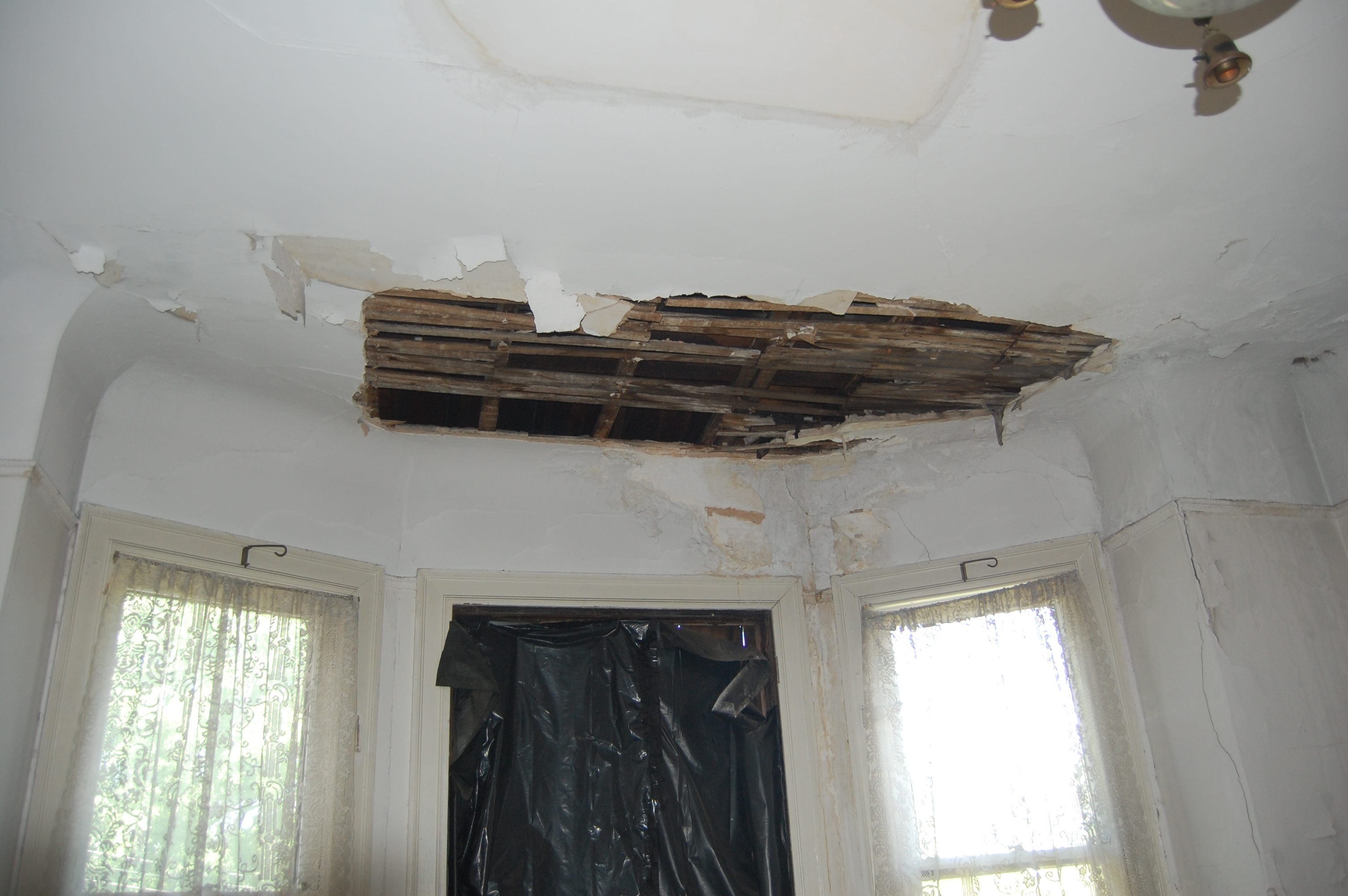Damaged ceiling, Bolton Hill Rowhouse