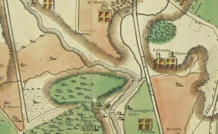 1801: Jones' Falls meanders through Baltimore County past old grist mills and the country estates of John Salmon, Robert Oliver and John Eager Howard. Image excerpted from Warner & Hanna's Plan of the City and Environs of Baltimore (1801). Courtesy JHU, Sheridan Libraries, 1774.2/36429.