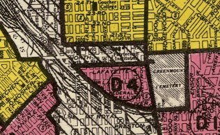 "1936: Residential Security maps were used to restrict lending to working class and African American home-owners in ""red-lined"" districts. Image courtesy JHU, Sheridan Libraries."