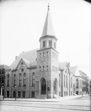 Central Methodist Episcopal Church South on Edmondson Avenue. Courtesy UMBC Special Collections, Hughes Company Glass Negatives.