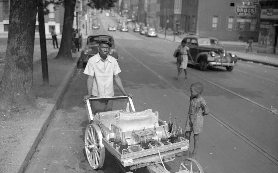 Snowball cart on Edmondson Avenue next to Harlem Park, Paul S. Henderson. Courtesy Maryland Historical Society, HEN.00.A1-105.