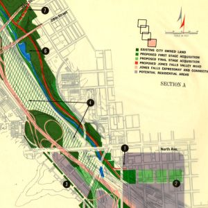 Map from the 1961 Jones Falls Valley Plan. Courtesy JScholarship.