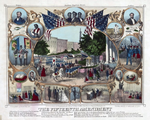 Print showing a parade of Black men in uniform past Mount Vernon Place. The central image is surrounded by portraits and vignettes of Black life, illustrating rights granted by the 15th Amendment.