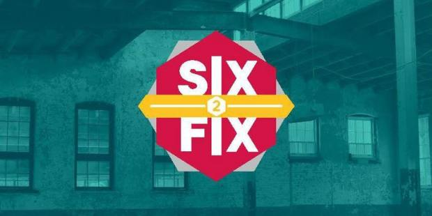 The red logo for the Six to Fix program on top of a blue-tinted photo of a brick wall with windows.