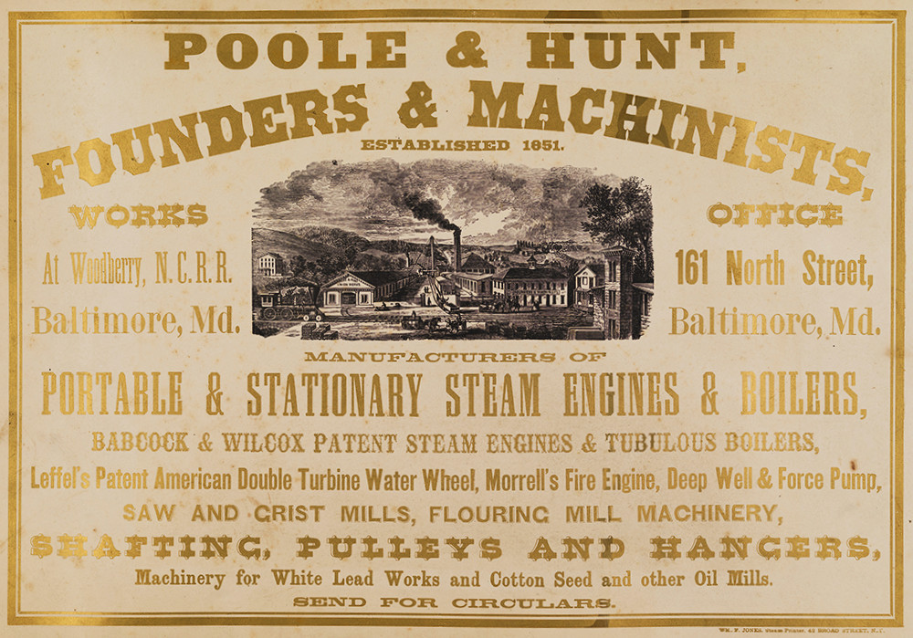 Gilt lettering advertising Poole & Hunt around a black-and-white illustration of the foundry.