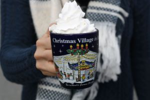 Hot chocolate at the Christmas Village in Baltimore