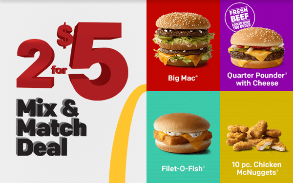 Mix and Match deal at McDonalds